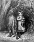 En passant dans un bois, elle rencontra compère le Loup