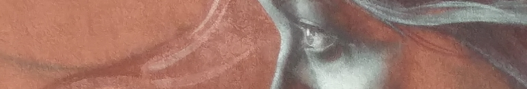 Détail d'une murale montrant le regard d'une jeune fille en profil.
