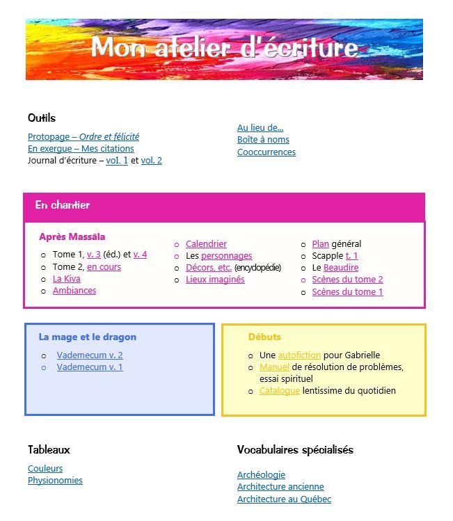 Exemple de page d'accueil dans le logiciel Word.