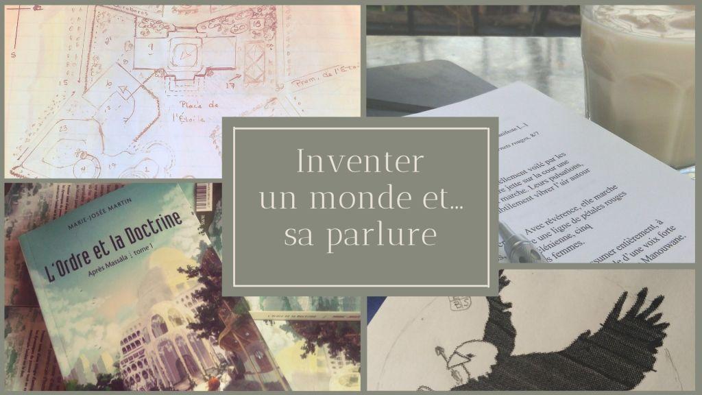 Collage avec plan manuscrit de la place de l'Étoile. Au centre on lit les mots : « Inventer un monde et... sa parlure ».